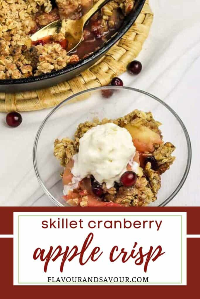 image and text for skillet cranberry apple crisp
