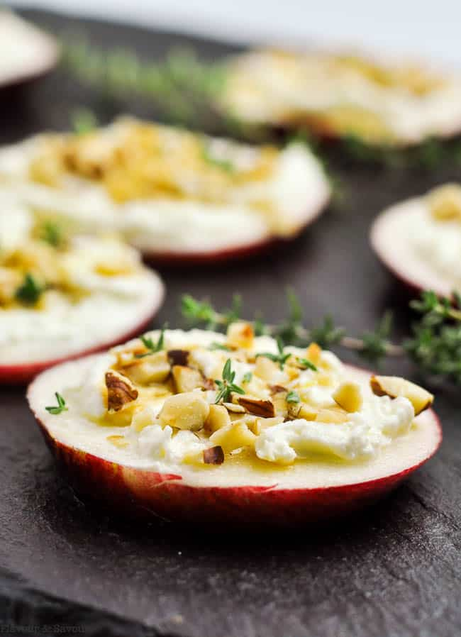Whipped Feta Apple Hazelnut Canapés