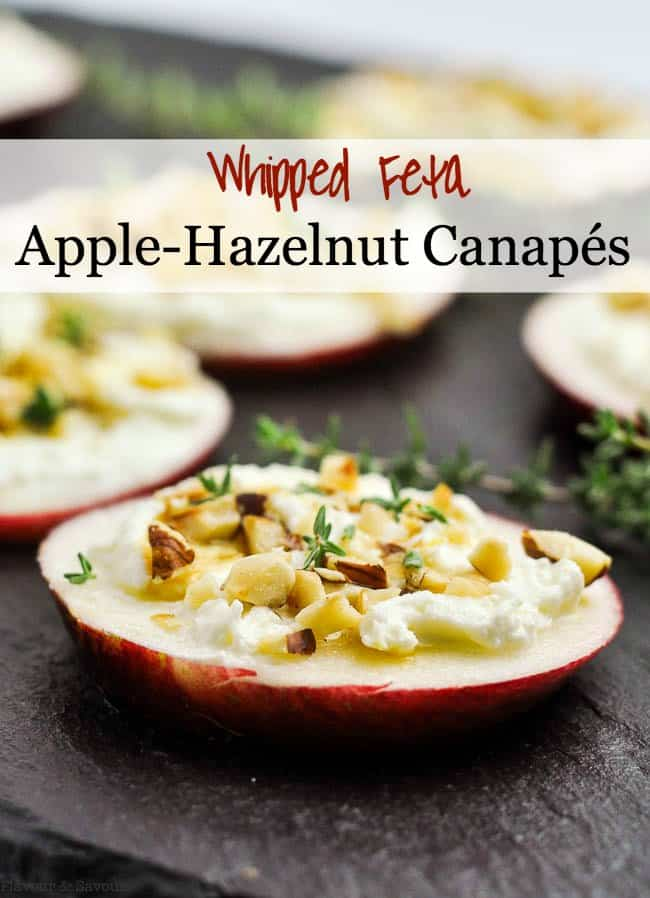 Pinterest Pin for Whipped Feta Apple Hazelnut Canapes