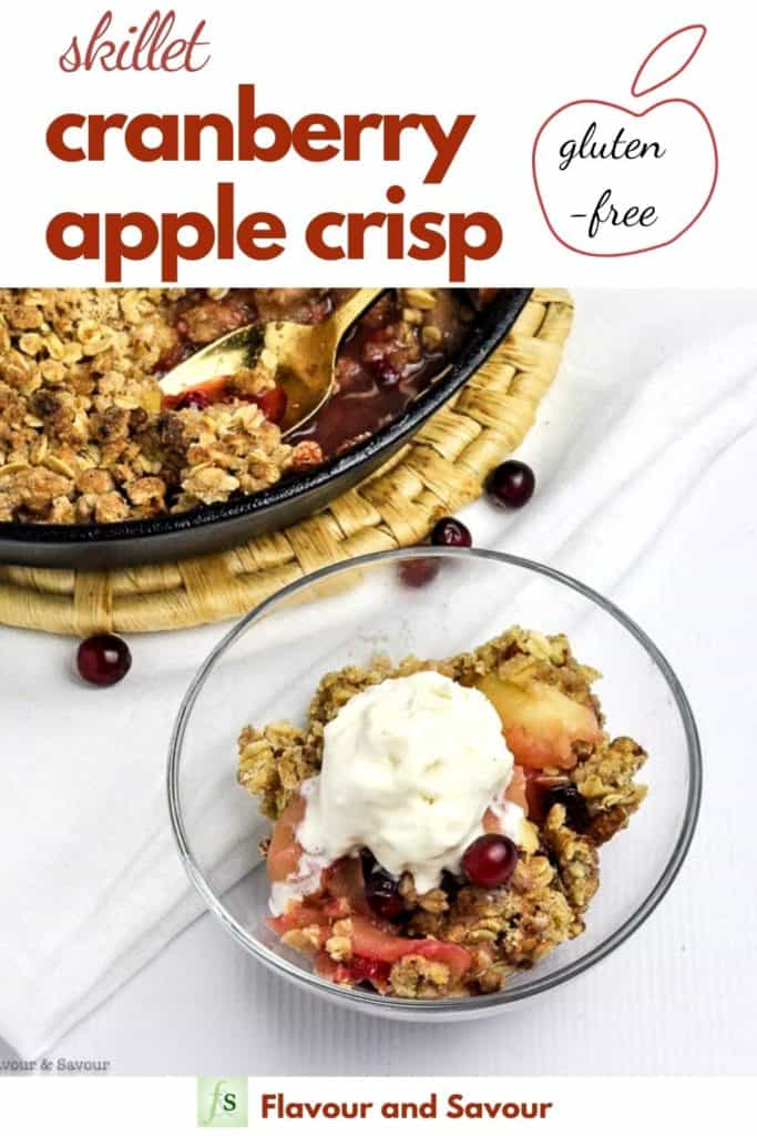 Pinterest image for Skillet Cranberry Apple Crisp with text overlay