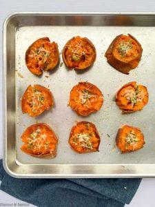 Baked Smashed Sweet Potatoes on baking sheet