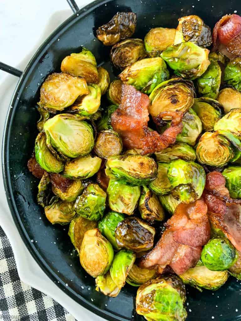 Close up image of Air Fryer Brussels Sprouts with bacon