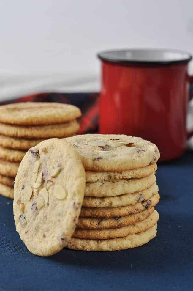 Cranberry Almond Flour Cookies stacked