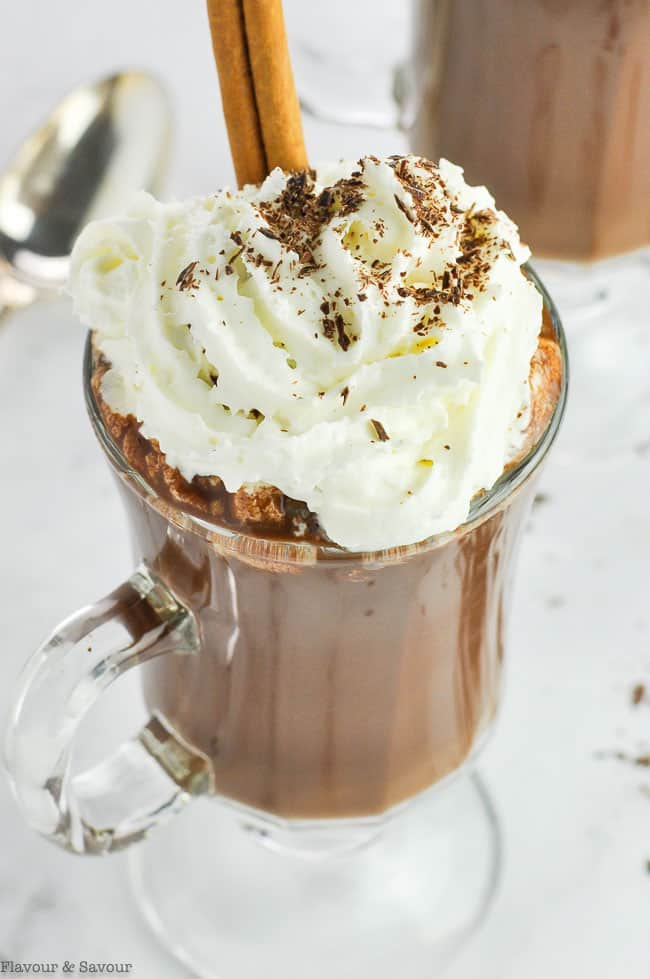 Dairy-Free Cashew Milk Spiced Hot Cocoa topped with whipped cream