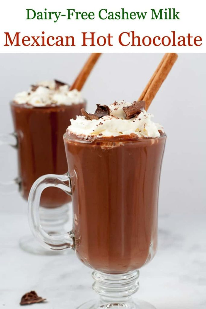 Pinterest pin for Dairy-Free Mexican Hot Chocolate