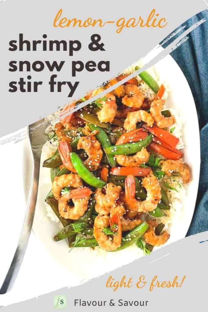 Image and text overlay for Shrimp and Snow Pea Stir Fry