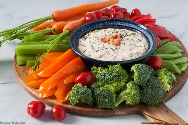 Smoked Salmon Feta Dip with crudites
