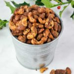 Gingerbread Spiced Nuts with holly
