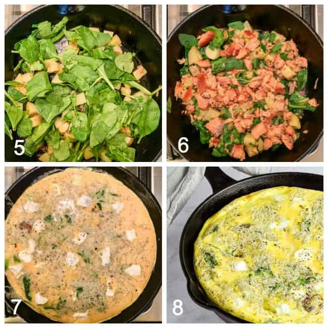 Collage image for Smoked Salmon Frittata method