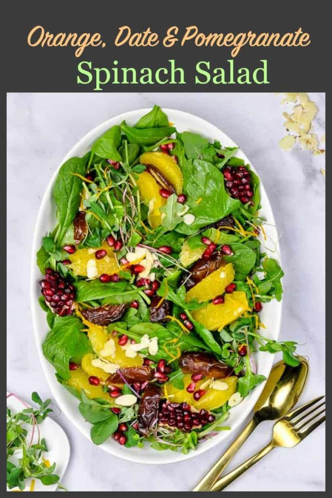 Pinterest Pin for Orange Date Spinach Salad 1