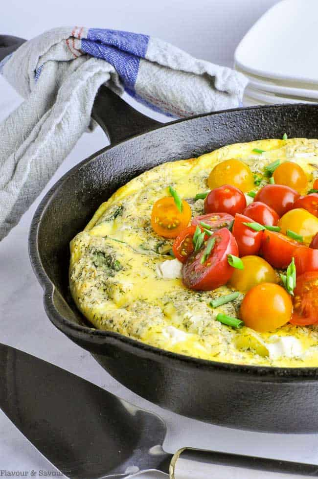 Smoked Salmon Frittata with cherry tomatoes
