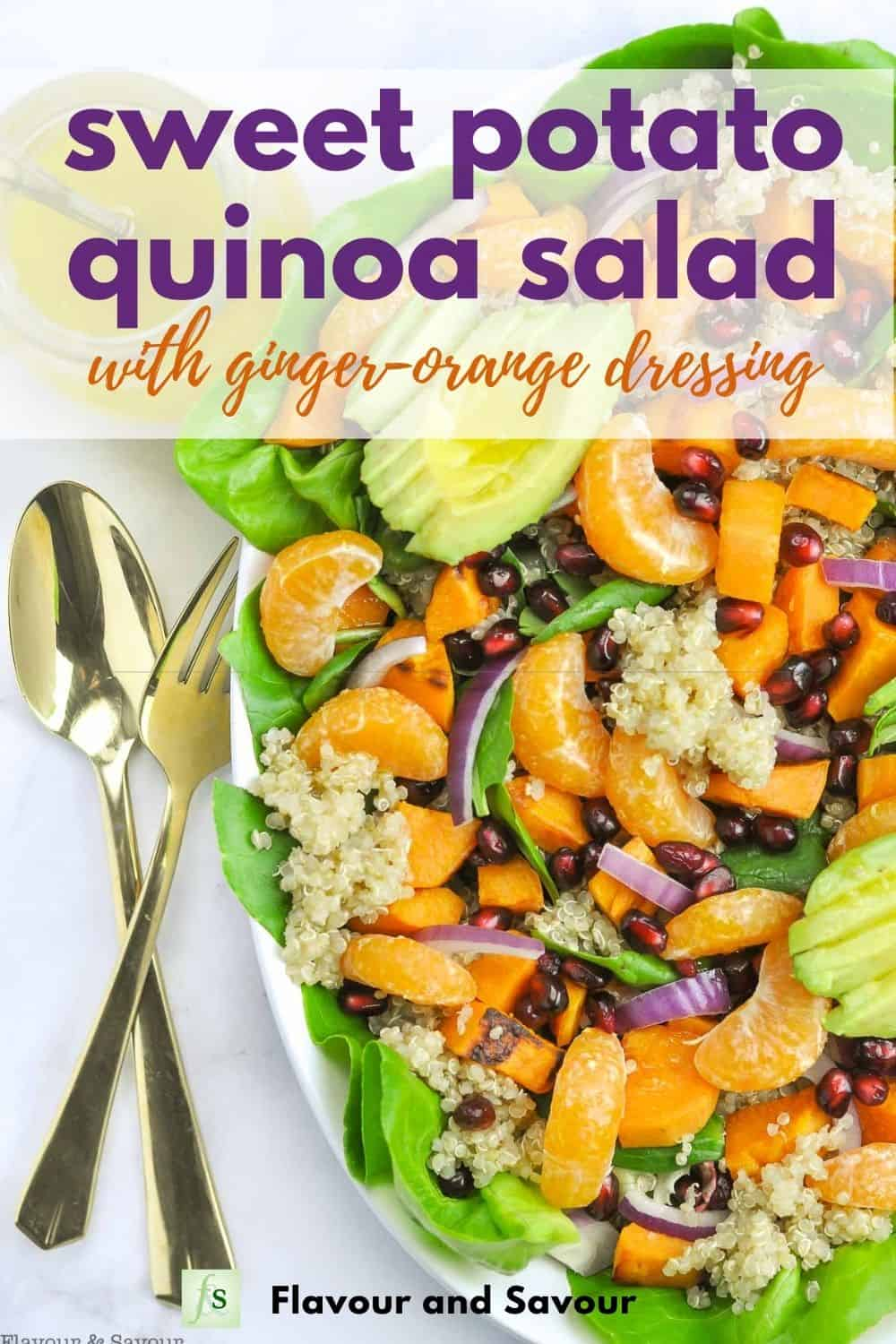 Image and text for Sweet Potato Quinoa Salad with Ginger-Orange Dressing