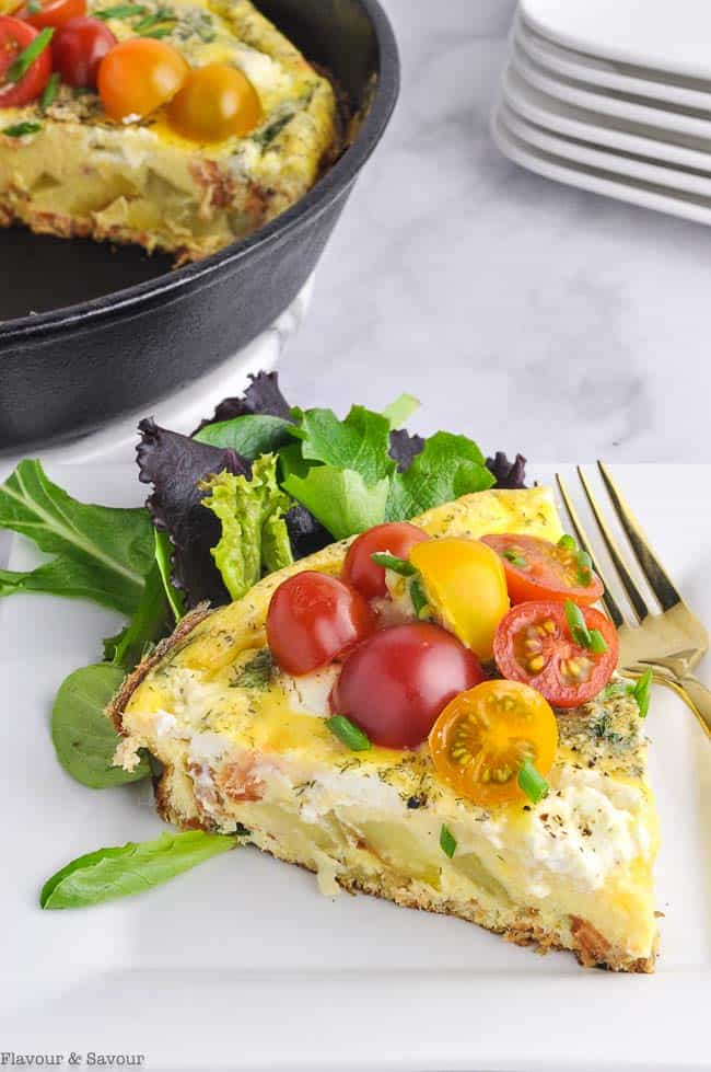 A serving of Smoked Salmon Spinach Frittata, a healthy egg recipe