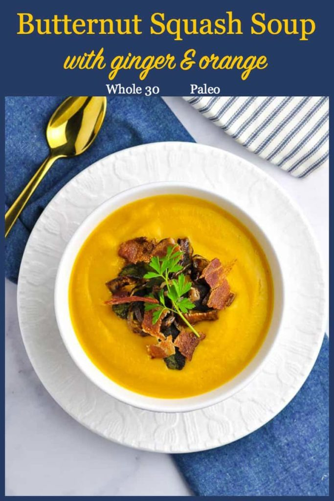 Pin for Roasted Butternut Squash Soup with blue header