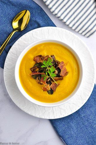 Butternut Squash Soup with garnishes