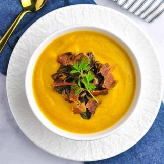 Butternut Squash Soup with toppings overhead view