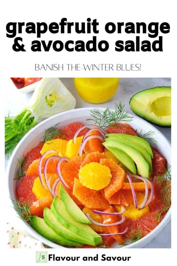 Image and text Grapefruit Orange and Avocado Salad