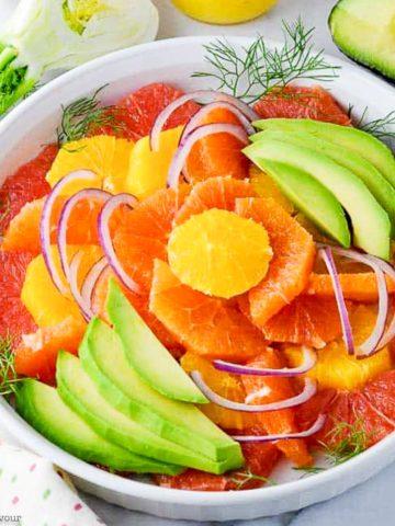 Grapefruit Orange Avocado Salad arranged in concentric circles