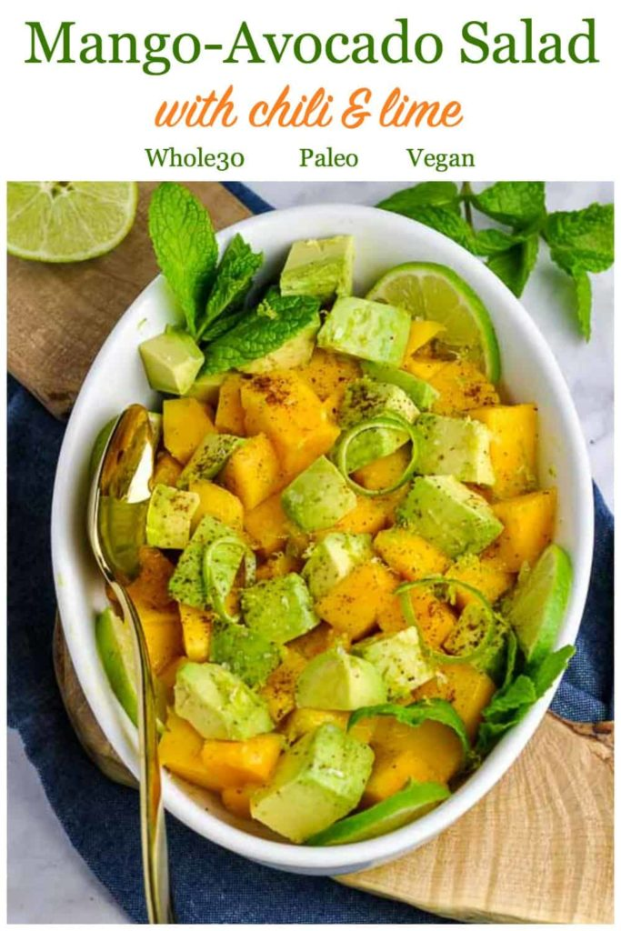 PInterest Pin for Mango Avocado Chili Lime Salad