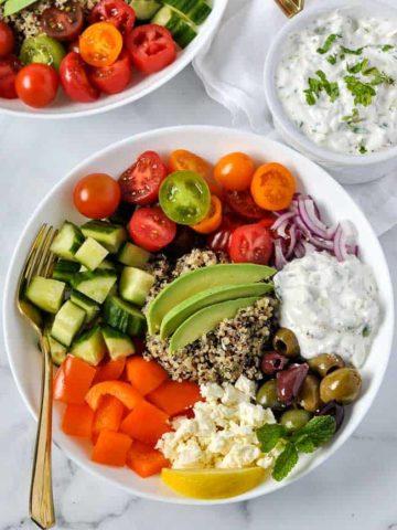 Vegetarian Mediterranean Quinoa Bowl overhead view 3