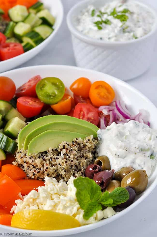 Close up view of Vegetarian Mediterranean Quinoa Bowl