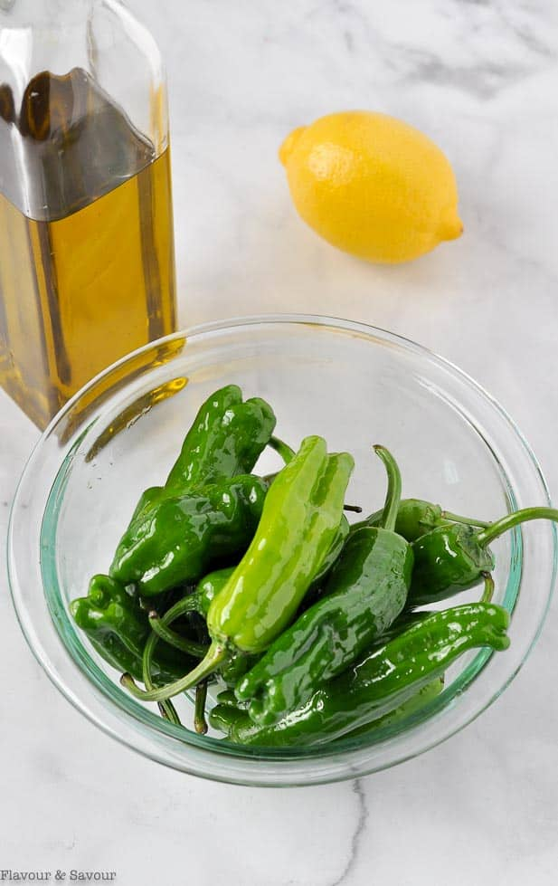 Shishito Peppers tossed with olive oil