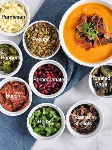 Soup Topping Ideas in small round prep bowls
