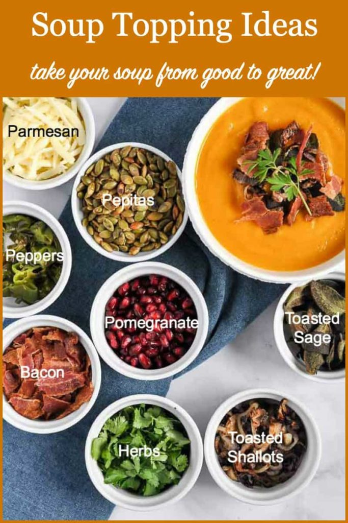 Image and text overlay for healthy soup topping ideas