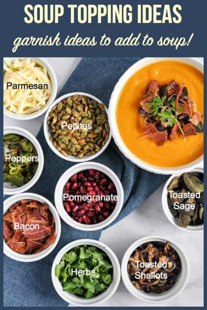PInterest Pin for Soup Garnish Ideas. Soup toppers in small bowls with labels