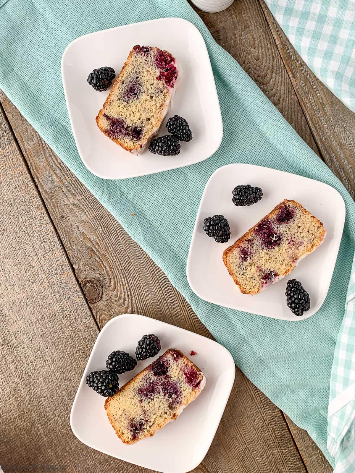 3 plates of keto blackberry bread
