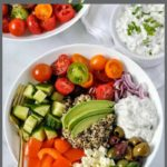 Pinterest pin for Greek Quinoa Bowl