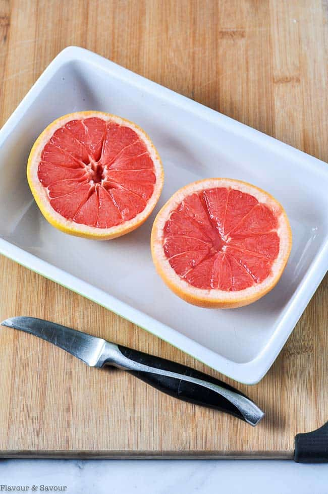 Two grapefruit halves, sectioned.