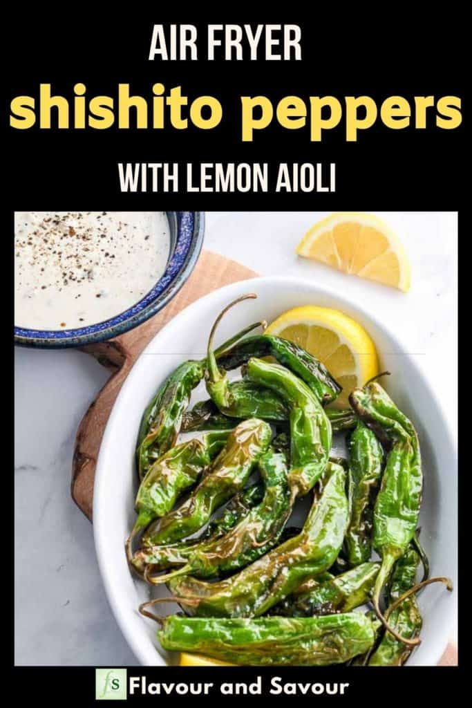 Pinterest pin for Air Fryer Shishito Peppers