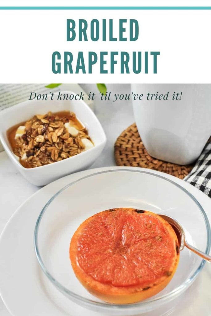 Pinterest Pin for Broiled Grapefruit with Maple Syrup and Cinnamon