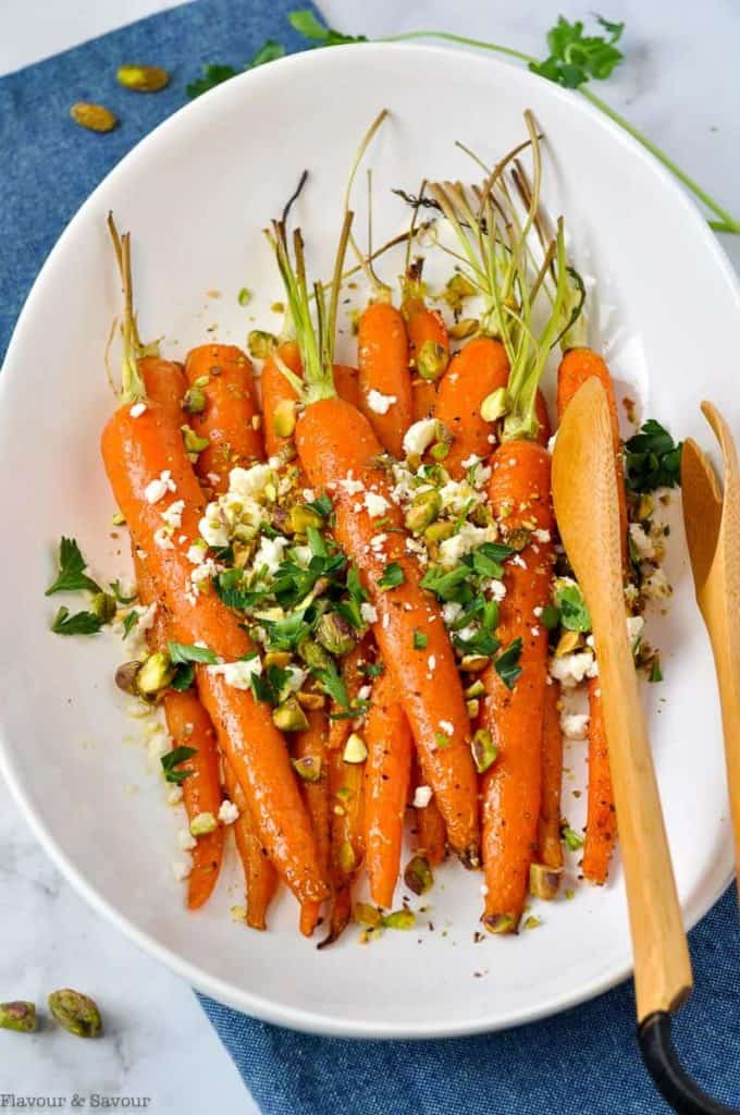 image of Oven Roasted Carrots with Feta and PIstachios