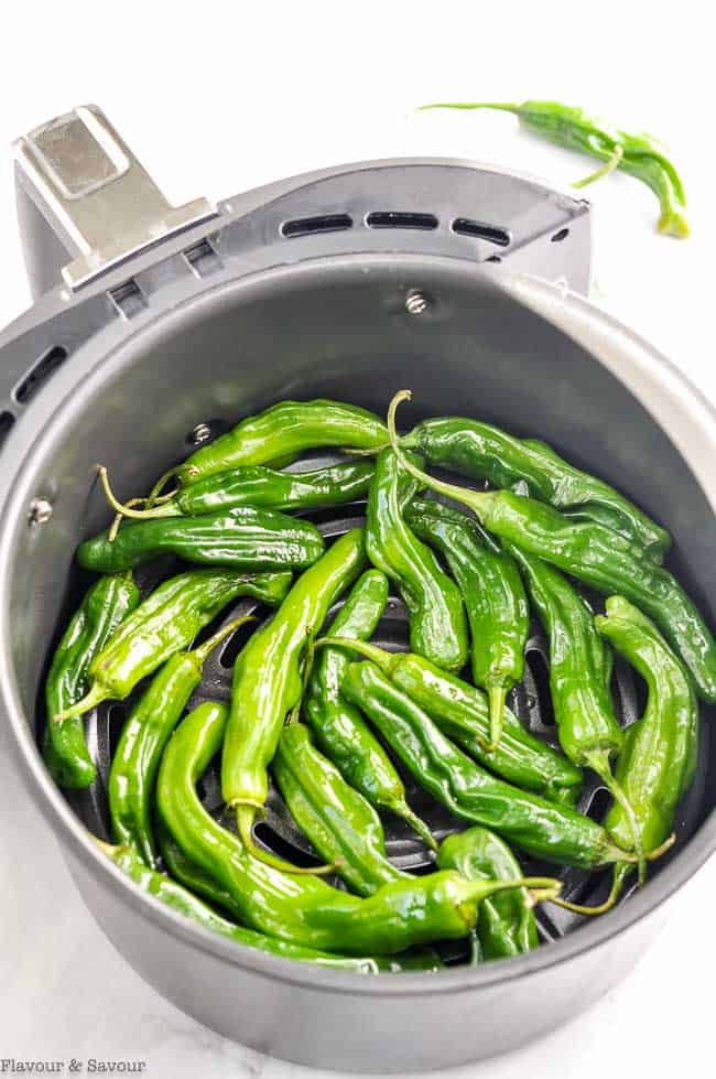 Raw Shishito Peppers (Padron Peppers) in an air fryer basket.
