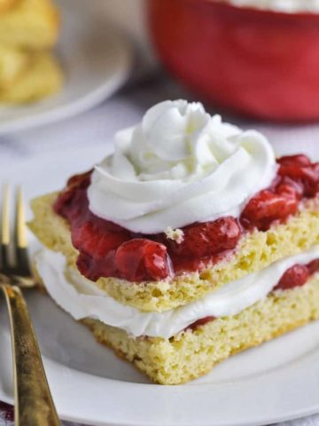 Close up view of Low carb Strawberry Shortcake
