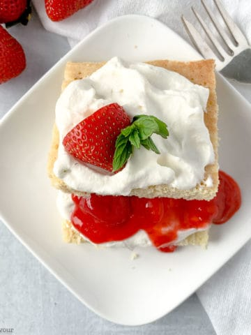 Close up overhead view of a serving of Keto Strawberry Shortcake