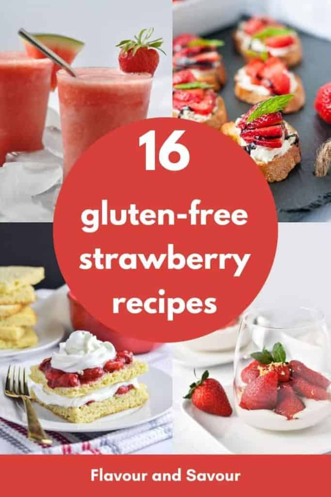 PInterest pin for 16 gluten-free strawberry recipes