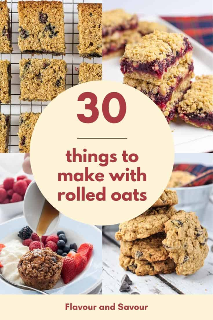 Pinterest pin for 30 Healthy things to make with rolled oats.