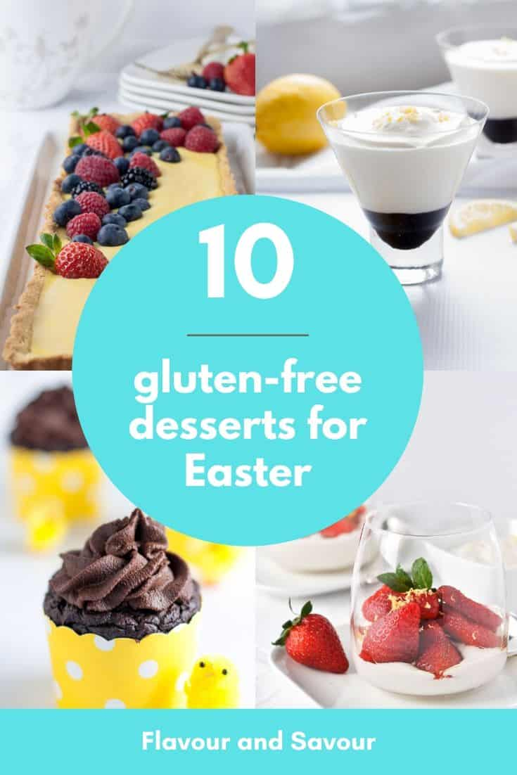 Pinterest Pin for 10 Gluten-Free desserts for Easter and Spring