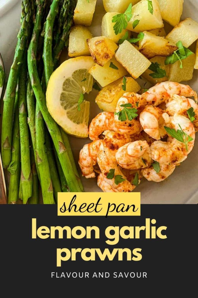 Pinterest Pin for Sheet Pan Lemon Garlic Prawans