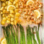 Sheet Pan Lemon Garlic Prawns with Asparagus overhead view