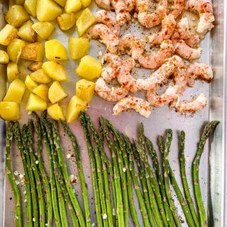 Sheet Pan Lemon Garlic Prawns and Asparagus