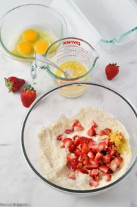 preparing batter for Strawberry Lemon Loaf