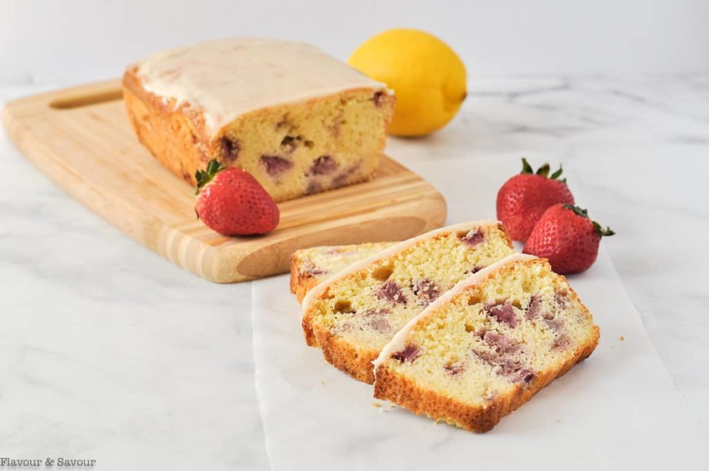 Keto Strawberry Lemon Loaf sliced