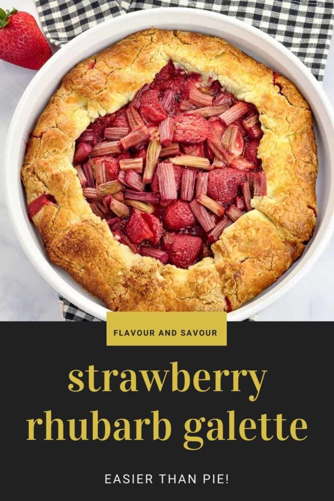 Pinterest pin for Strawberry Rhubarb Galette