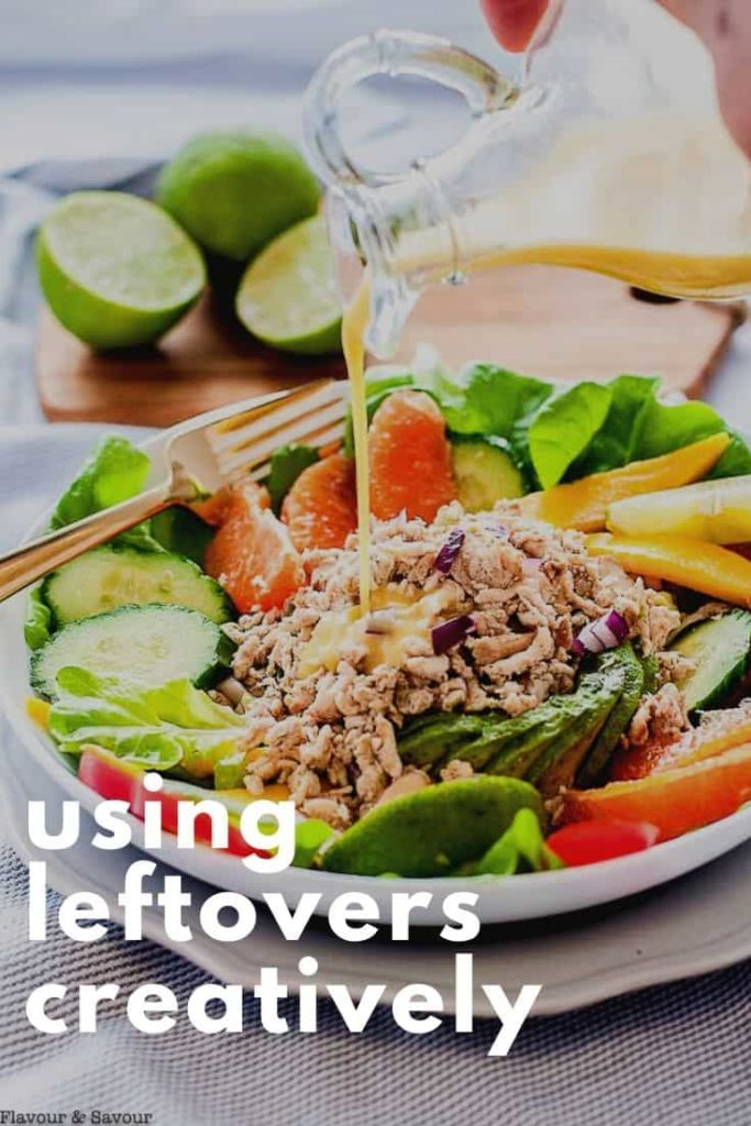 Pinterest pin for using leftovers creatively to help avoid food waste
