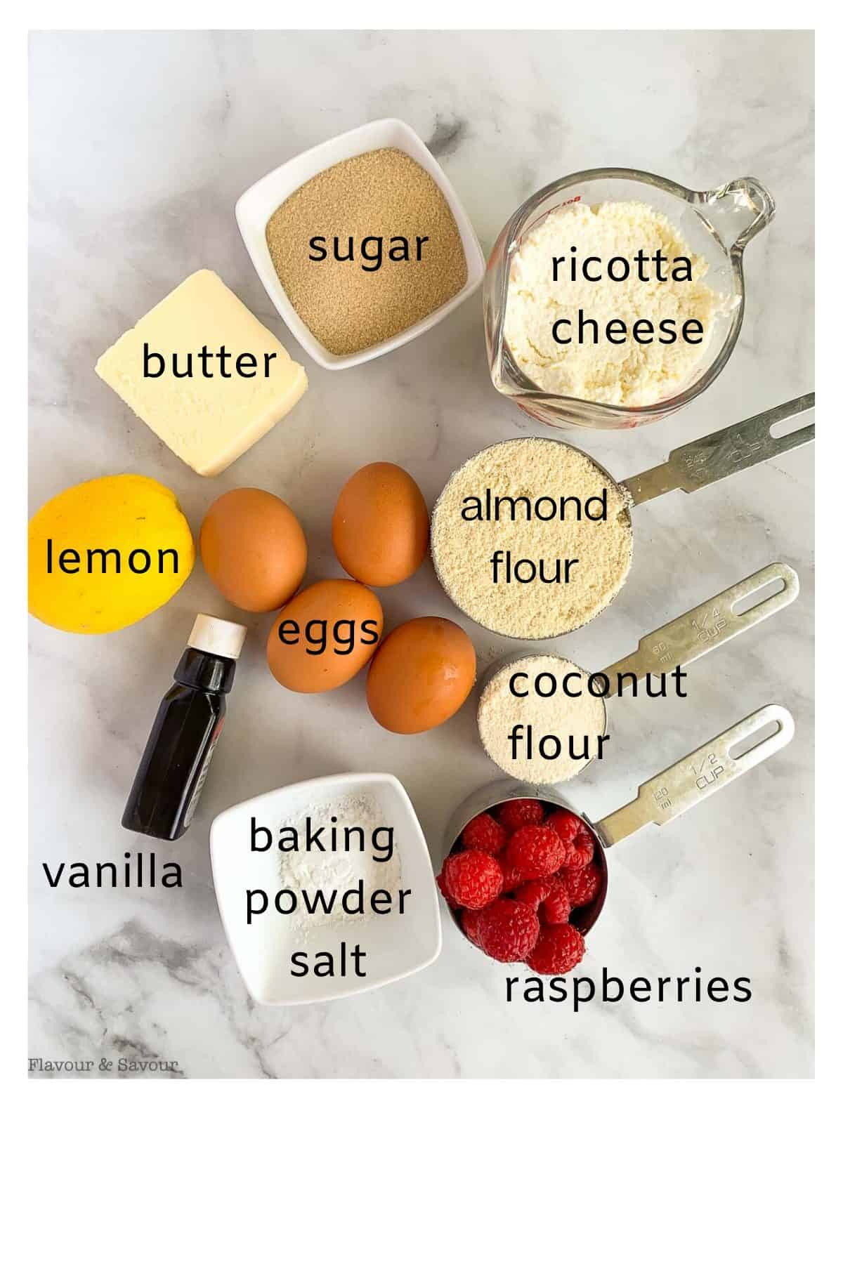 Ingredients with labels for Raspberry Ricotta Cake