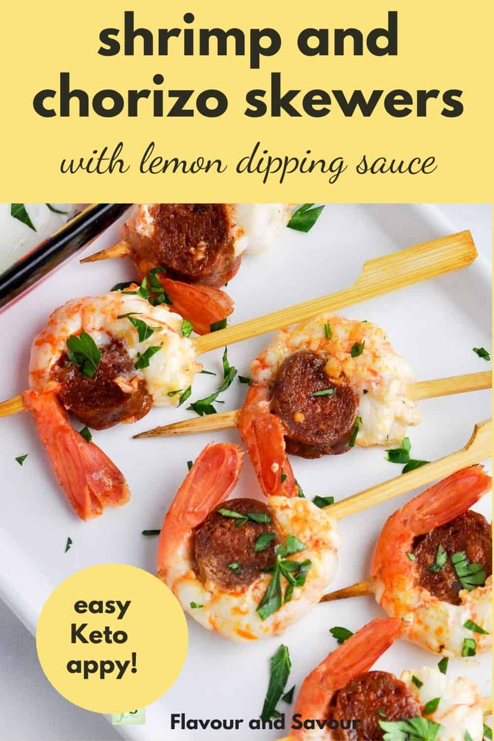 Shrimp and Chorizo Skewers with text overlay